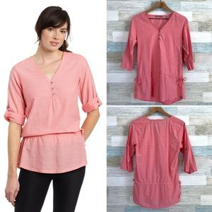 Horny Toad Organic Cotton Henley Tunic Pink
